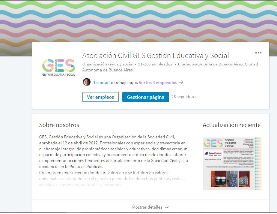 Asociación Civil GES presente en Linkedin RSE